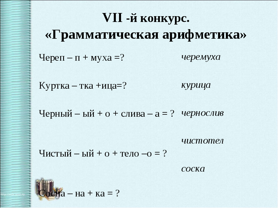 VII -й конкурс. «Грамматическая арифметика» Череп – п + муха =? Куртка – тка...