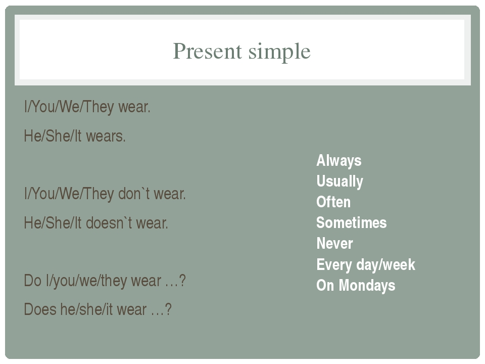 Present simple I/You/We/They wear. He/She/It wears. I/You/We/They don`t wear....
