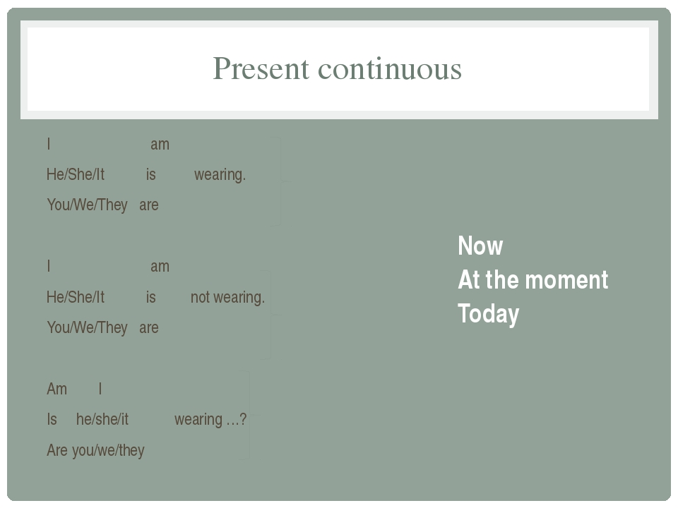 Present continuous I am He/She/It is wearing. You/We/They are I am He/She/It...
