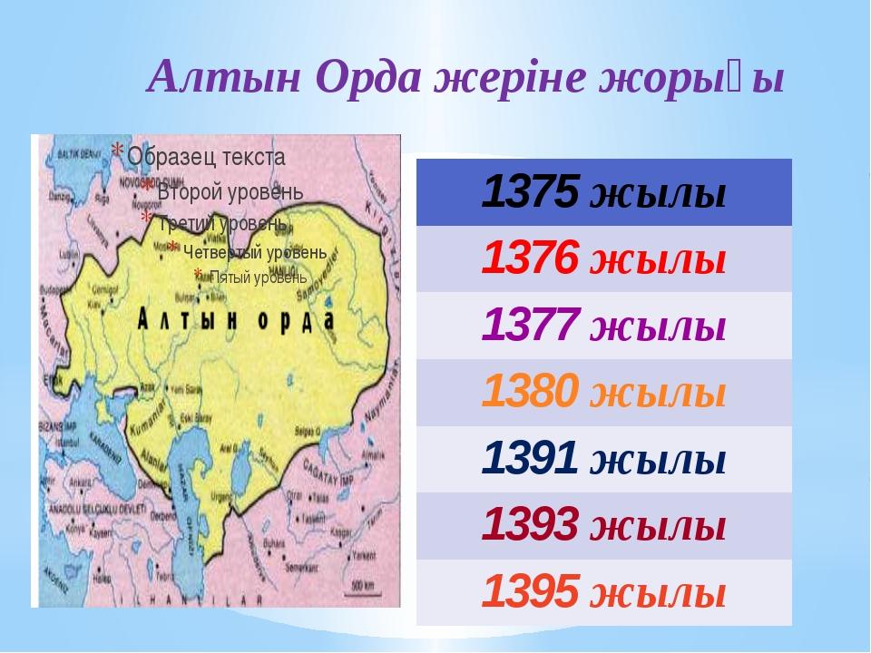 Алтын Орда жеріне жорығы 1375жылы 1376жылы 1377жылы 1380жылы 1391жылы 1393жы...
