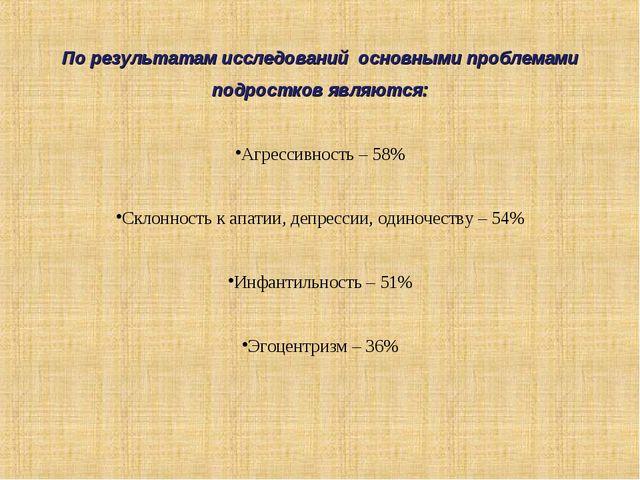 По результатам исследований основными проблемами подростков являются: Агресси...