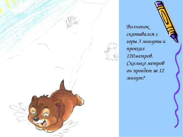 Волчонок скатывался с горы 3 минуты и проехал 120метров. Сколько метров он п...