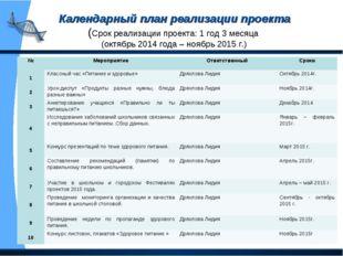 Календарный план реализации проекта (Срок реализации проекта: 1 год 3 месяца