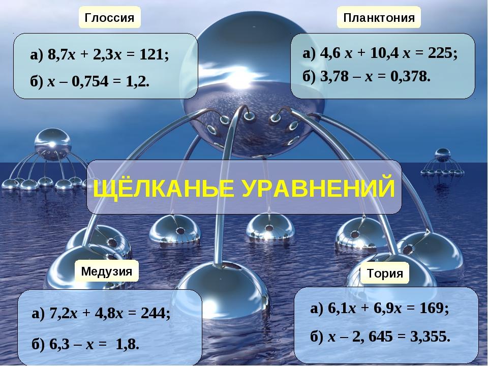 Глоссия Медузия Планктония Тория