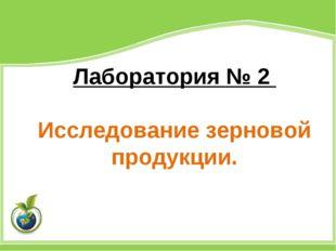 Лаборатория № 2 Исследование зерновой продукции.