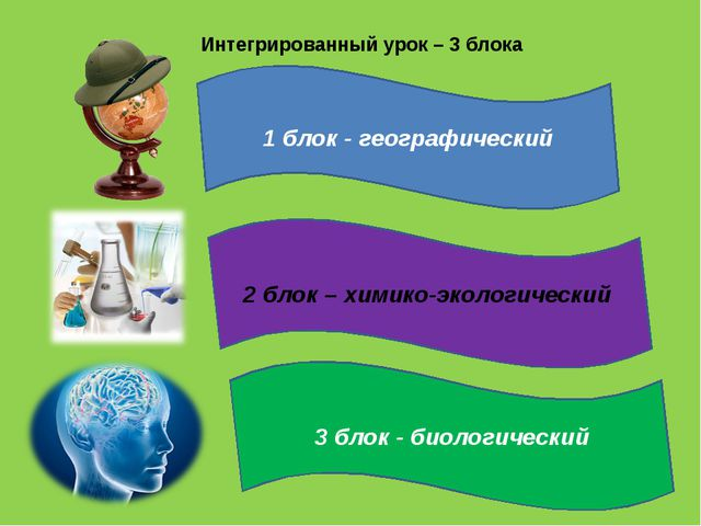 Интегрированный урок – 3 блока 3 блок - биологический 2 блок – химико-экологи...