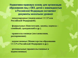 Нормативно-правовую основу для организации образования лиц с ОВЗ, детей с инв