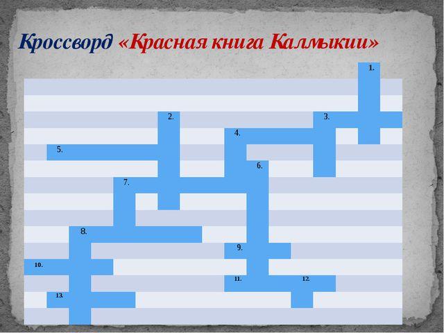 Кроссворд «Красная книга Калмыкии» 1. 2. 3. 4. 5. 6. 7. 8. 9. 10. 11. 12. 13.