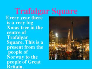 Trafalgar Square Every year there is a very big Xmas tree in the centre of Tr