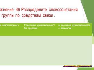 Упражнение 46 Распределите словосочетания на 3 группы по средствам связи . а/