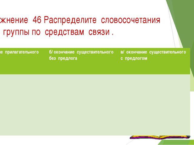 Упражнение 46 Распределите словосочетания на 3 группы по средствам связи . а/...