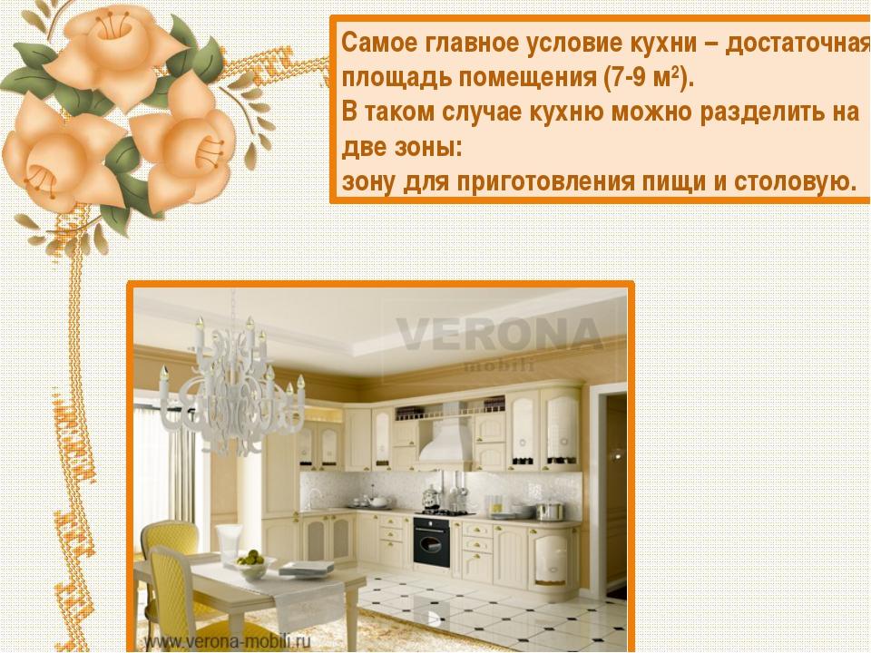 Самое главное условие кухни – достаточная площадь помещения(7-9 м²). В таком...
