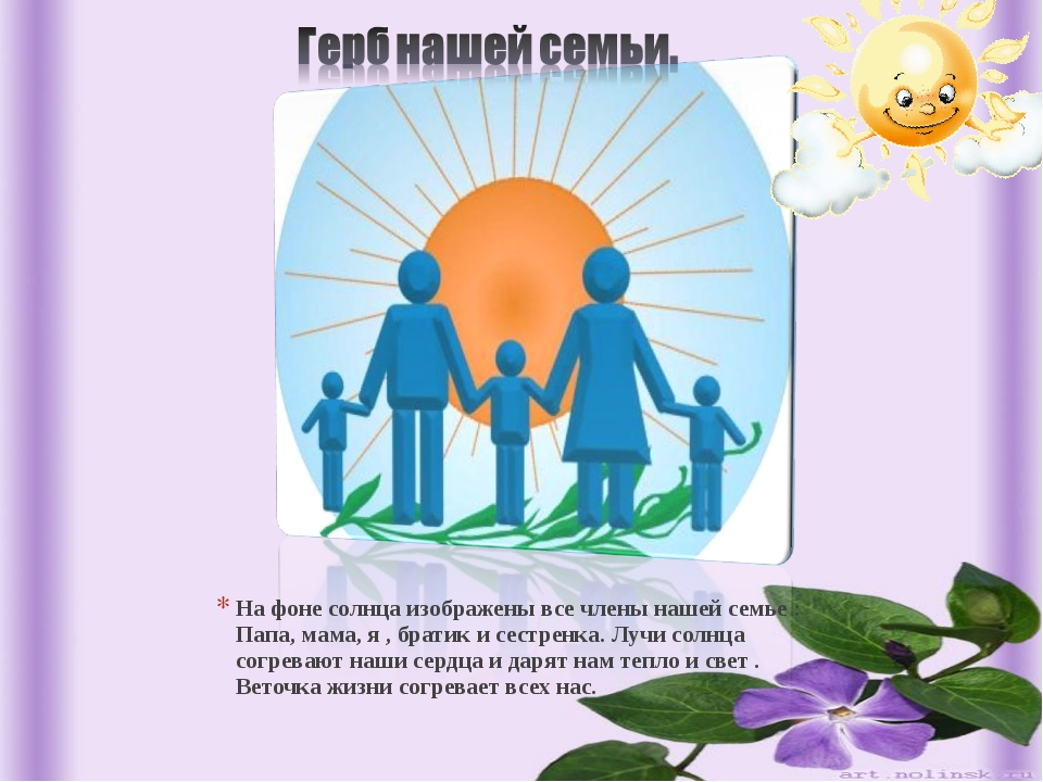 На фоне солнца изображены все члены нашей семье : Папа, мама, я , братик и се...