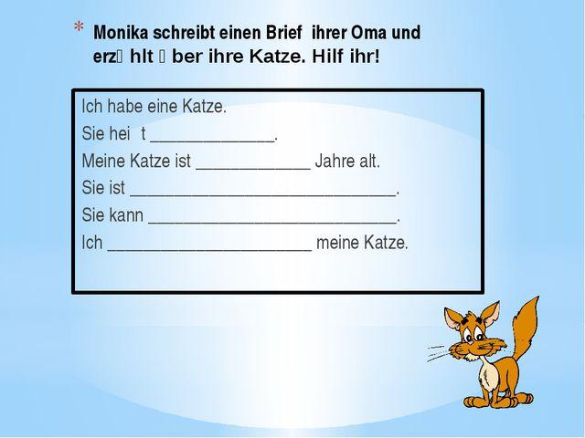 Monika schreibt einen Brief ihrer Oma und erzӓhlt ὒber ihre Katze. Hilf ihr!...