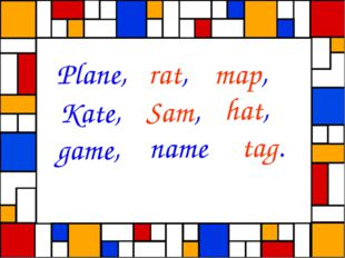 Plane, rat, map, Kate, Sam, hat, game, name tag.