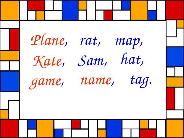 Plane, rat, map, Kate, Sam, hat, game, name, tag.