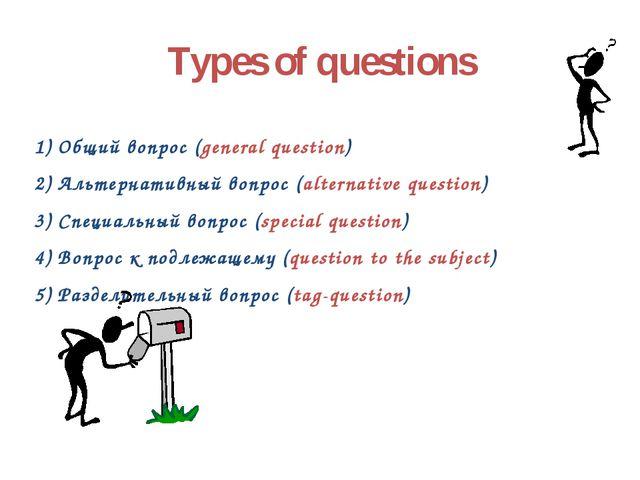 Types of questions 1) Общий вопрос (general question) 2) Альтернативный вопро...