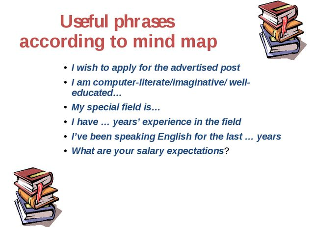 Useful phrases according to mind map I wish to apply for the advertised post...
