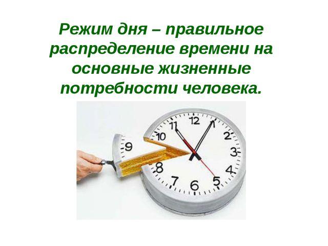 Режим дня – правильное распределение времени на основные жизненные потребност...