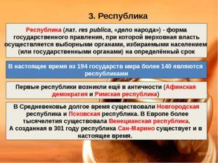 3. Республика Республика (лат.res publica, «дело народа»)- форма государств