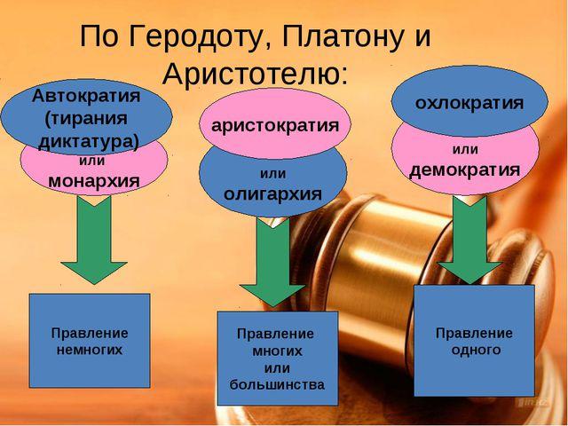 По Геродоту, Платону и Аристотелю: или монархия или демократия или олигархия...
