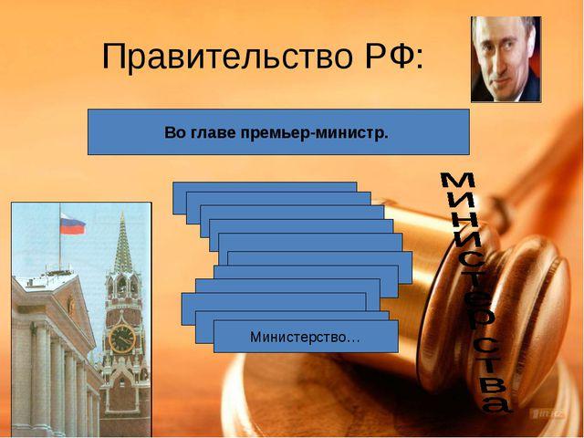 Правительство РФ: Во главе премьер-министр. Министерство…