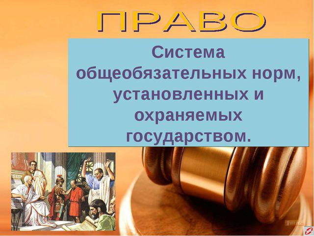 Система общеобязательных норм, установленных и охраняемых государством.