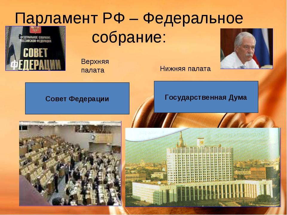 Парламент РФ – Федеральное собрание: Совет Федерации Государственная Дума Вер...