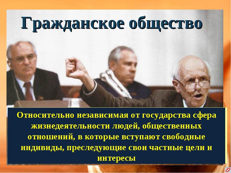 Гражданское общество Относительно независимая от государства сфера жизнедеяте...