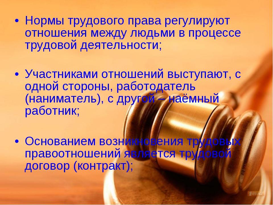 Нормы трудового права регулируют отношения между людьми в процессе трудовой д...