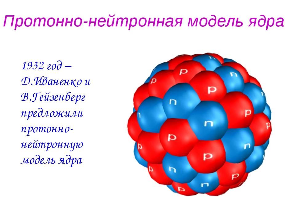 Протонно-нейтронная модель ядра 1932 год – Д.Иваненко и В.Гейзенберг предложи...