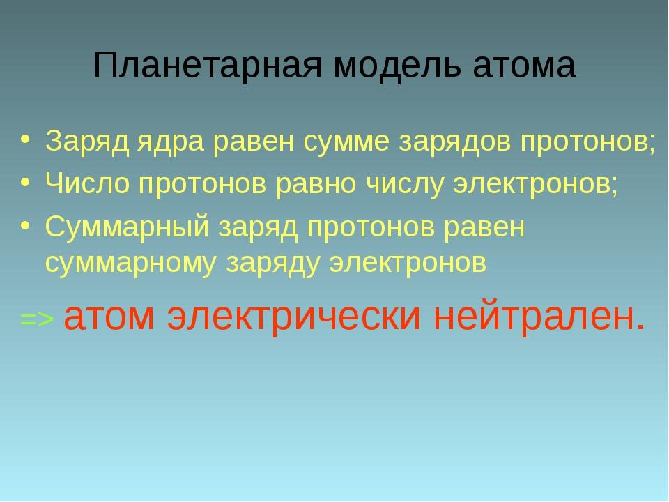 Планетарная модель атома Заряд ядра равен сумме зарядов протонов; Число прото...