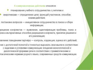 К коммуникативным действиям относятся: планирование учебного сотрудничества с