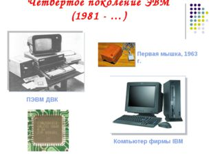 Четвертое поколение ЭВМ (1981 - …) ПЭВМ ДВК Первая мышка, 1963 г. Компьютер ф