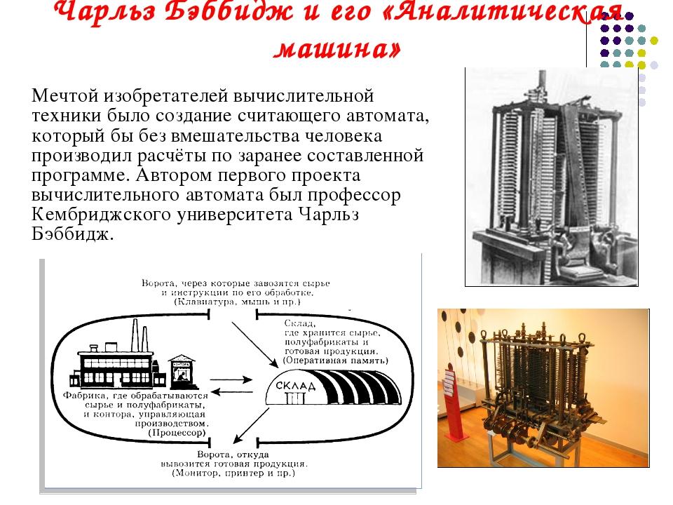 Чарльз Бэббидж и его «Аналитическая машина» Мечтой изобретателей вычислитель...
