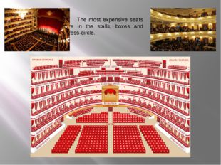 The most expensive seats are in the stalls, boxes and dress-circle.