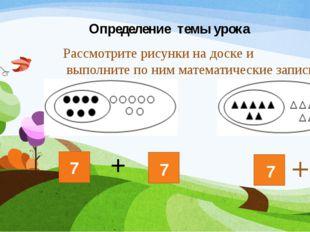 Определение темы урока Рассмотрите рисунки на доске и выполните по ним матема