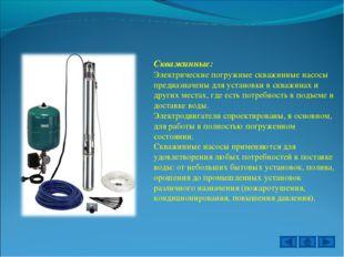Скважинные: Электрические погружные скважинные насосы предназначены для устан