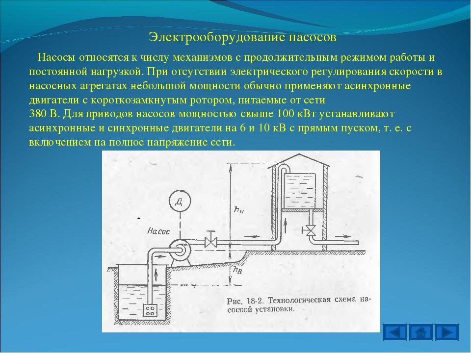 Электрооборудование насосов Насосы относятся к числу механизмов с продолжител...