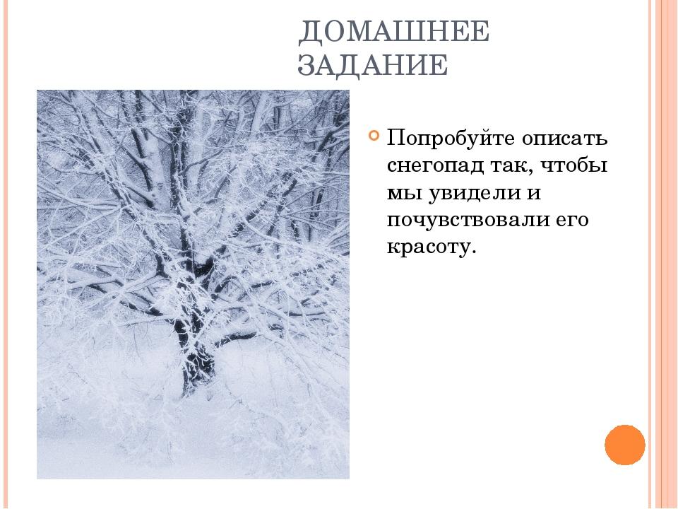 ДОМАШНЕЕ ЗАДАНИЕ Попробуйте описать снегопад так, чтобы мы увидели и почувств...