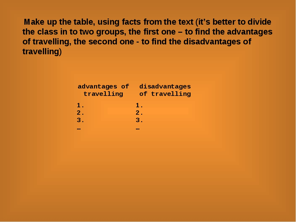 Make up the table, using facts from the text (it's better to divide the clas...