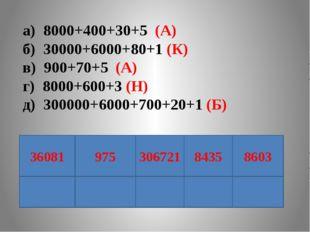 а) 8000+400+30+5 (А) б) 30000+6000+80+1 (К) в) 900+70+5 (А) г) 8000+600+3 (Н