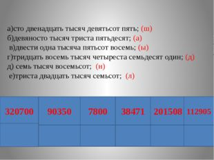 а)сто двенадцать тысяч девятьсот пять; (ш) б)девяносто тысяч триста пятьдеся