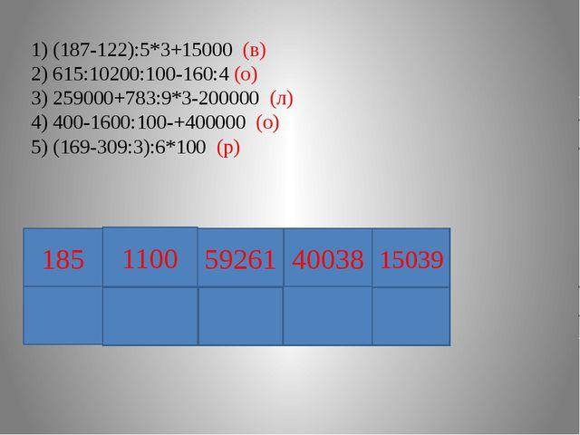 1) (187-122):5*3+15000 (в) 2) 615:10200:100-160:4 (о) 3) 259000+783:9*3-2000...