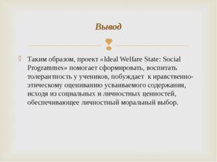 Таким образом, проект «Ideal Welfare State: Social Programmes» помогает сформ