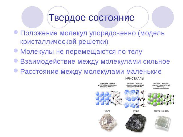 Твердое состояние Положение молекул упорядоченно (модель кристаллической реше...
