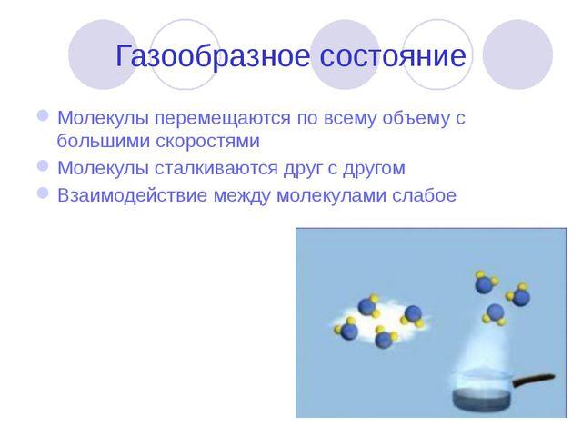 Газообразное состояние Молекулы перемещаются по всему объему с большими скоро...