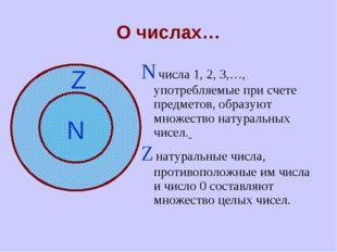 О числах… N числа 1, 2, 3,…, употребляемые при счете предметов, образуют множ