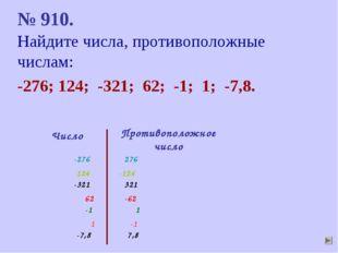 № 910. Найдите числа, противоположные числам: -276; 124; -321; 62; -1; 1; -7,