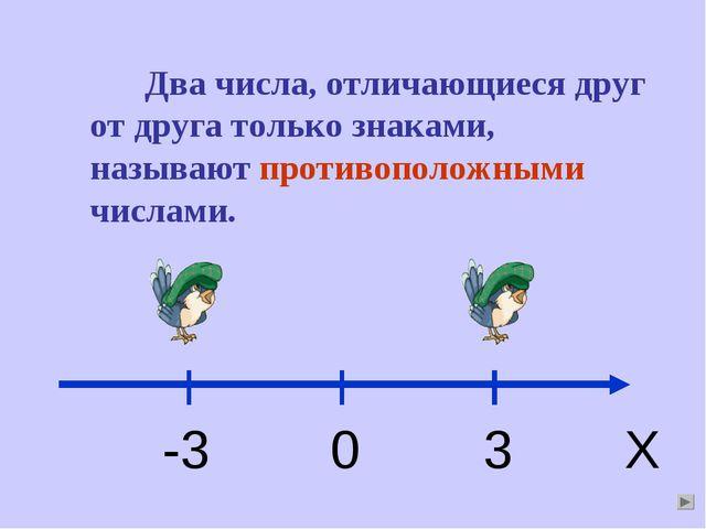 Два числа, отличающиеся друг от друга только знаками, называют противоположны...